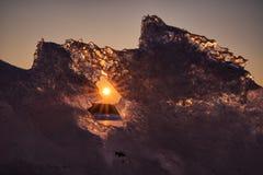 Słońce promienie przez lodu Fotografia Royalty Free