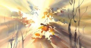 Słońce promienie w żółtej lasowej akwareli ilustracja wektor