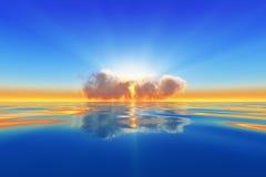 Słońce promienie w chmurze ilustracja wektor