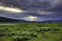 Słońce promienie w dolinie Obraz Stock