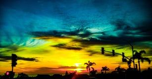 Słońce ustawiający w Kalifornia obrazy royalty free