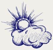 Słońce w chmurach ilustracji
