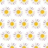 Słońce wektoru bezszwowy wzór Tło z żółta koralowa ręka rysującą pomarańcz menchii słońca ilustracją na białym tle Prosty Doodle ilustracja wektor