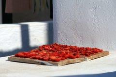 słońce wysuszeni karmowi greccy pomidory Zdjęcia Royalty Free