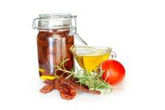 słońce wysuszeni nafciani oliwni pomidory Fotografia Stock