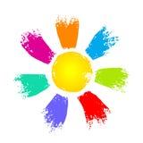 Słońce z kolorowymi promieniami ilustracja wektor