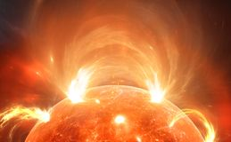 Słońce z koroną słoneczną Słoneczna burza, słoneczni racy ilustracja wektor