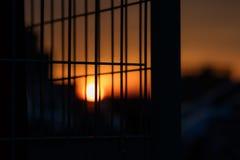 Słońce za barami Zdjęcie Royalty Free
