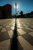 Słońce za Streetlight, Ładnym, Francja Fotografia Stock