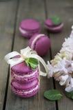 Słodcy ciemnopąsowi francuscy macaroons z hiacyntowymi kwiatami i mennicą na ciemnym drewnianym tle zdjęcia royalty free