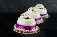 Słodcy desery z czarną jagodą Obraz Stock