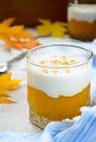 Słodcy dyniowi kremowi smoothies i gęsty grecki yougurt Zdjęcia Stock