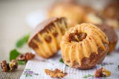 Słodcy orzechów włoskich muffins Obrazy Royalty Free