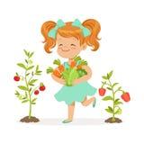 Słodcy rudzielec małej dziewczynki zrywania warzywa w ogródzie, dzieciaka zdrowego karmowego pojęcia kolorowa wektorowa ilustracj royalty ilustracja