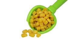 Słodka żółta kukurudza w zielonej łyżce na białym plecy Zdjęcie Royalty Free