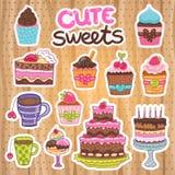 Słodka bułeczka, babeczka, kulebiak, tort, herbata set. Obrazy Royalty Free