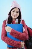 Słodka dziewczyna jest ubranym woolen odzież Fotografia Stock