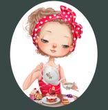 słodka dziewczyna kreskówki royalty ilustracja