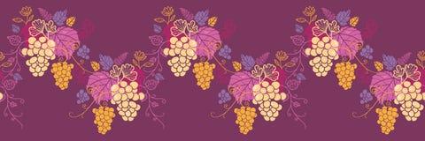 Słodka gronowych winogradów wzoru horyzontalna bezszwowa fala Zdjęcia Stock