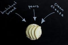 Słodka kanapka z bonkretą i serem na round bochenkach gryczanych Odgórny widok zdjęcie royalty free
