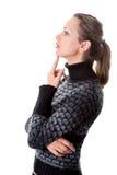 Słodka kobieta odizolowywająca na bielu, patrzeje daleko od Obraz Stock