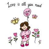 Słodka kot miłości karta Obraz Stock