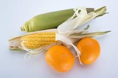 Słodka kukurudza i pomarańcze Obraz Stock