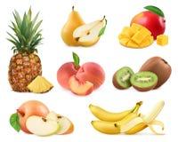 Słodka owoc Całość i kawałki 3d s wektorowe ikony Fotografia Stock