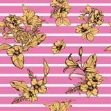 Słodka ręka rysujący lato nowożytnych kwiatów bezszwowy deseniowy wektor ilustracja wektor