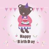 Słodka Szczęśliwa Biryhday karta z niedźwiedziem obrazy stock