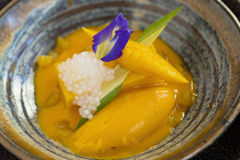Słodki żółty mangowy pudding na drewnianym stole zdjęcie royalty free