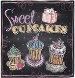 Słodki babeczki chalkboard Fotografia Stock