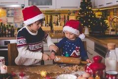 Słodki berbecia dziecko i jego stary brat, chłopiec, pomaga mamusia p zdjęcie royalty free