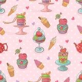 Słodki bezszwowy wzór z babeczkami i lody Zdjęcia Royalty Free