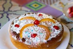 Słodki casatiello od Naples, tradycyjny tort przygotowywał z mo Fotografia Stock