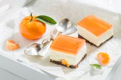 Słodki cheesecake robić świeża mandarynka i galareta obrazy royalty free