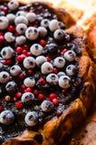 Słodki cheesecake z lukrecją i owoc Zdjęcia Royalty Free