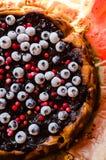 Słodki cheesecake z lukrecją i owoc Zdjęcie Stock
