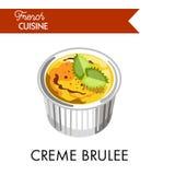 Słodki creme brulee od francuskiej kuchni w specjalnym naczyniu royalty ilustracja