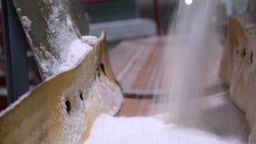 Słodki cukier lub sól nalewamy wewnątrz rozsypisko na czarnym tle Wiązka rozlewający biały piaska cukier zbiory wideo