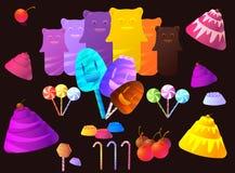 Słodki cukierek i elementy Ustawiający Obraz Stock