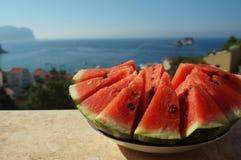Słodki czerwony dojrzały arbuz jesieni owoc życie Zdjęcie Stock