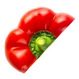 Słodki Czerwony pieprz Połówka odizolowywająca na bielu warzywo Fotografia Stock