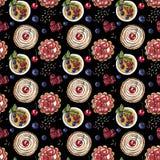 Słodki deser, babeczka, creme brulee z świeżymi jagodami na czarnym, bezszwowym akwarela wzorze, ilustracji
