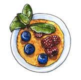 Słodki deser, creme brulee z czarną jagodą, malinka i gałąź mennica, ilustracji