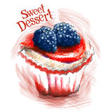 Słodki deserowy wektorowy loga projekta szablon Tort Zdjęcie Royalty Free