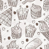 Słodki Karmowy Doddle Bezszwowy wzór Obraz Stock