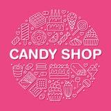 Słodki karmowy round plakat z mieszkanie linii ikonami Ciasto wektorowe ilustracje - lizak, czekoladowy bar, milkshake, ciastko royalty ilustracja