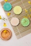Słodki kolor śnieżny skóry mooncake Tradycyjny w połowie jesieni festiv obrazy stock