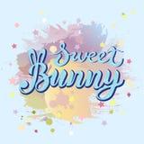 Słodki królika tekst odizolowywający na pastelowego koloru tle Obraz Stock